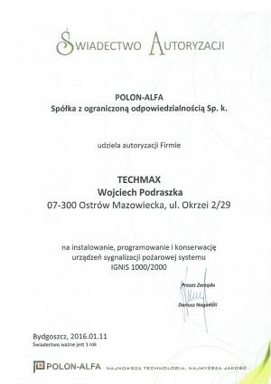 Autoryzacja POLON-ALFA - system  IGNIS 1000/2000