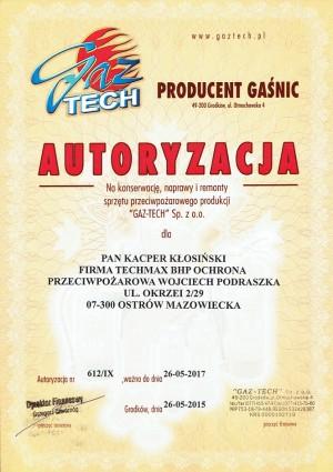 GAZ-TECH Autoryzacja-konserwacja, naprawy i remonty sprzętu przeciwpożarowego