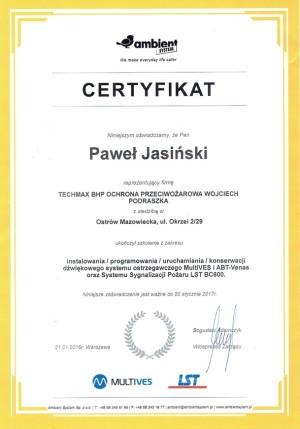 Certyfikat  - instalowanie/programowanie/uruchamianie/konserwacja DSO MultiVES i ABT-Venas oraz SSP LST BC6000