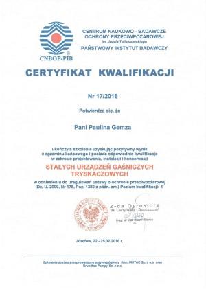 Certyfikat CNBOP - projektowanie, instalowanie, konserwacja stałych urządzeń gaśniczych tryskaczowych