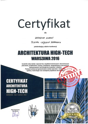 Certyfikat Architektura HIGH-TECH