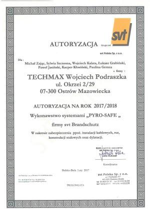 """Autoryzacja SVT - wykonawstwo systemami """"PYRO-SAFE"""" zabezpieczenia instalacji kablowych, rur, konstrukcji stalowych oraz dylatacji"""