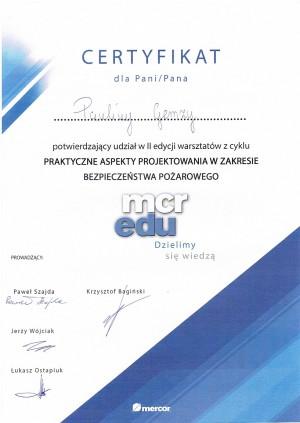 MERCOR - udział w warsztatach z cyklu praktyczne aspekty projektowania w zakresie bezpieczeństwa pożarowego