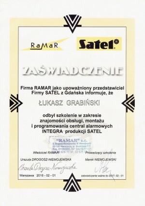 Certyfikat - obsługa, montaż i programowanie central alarmowych SATEL